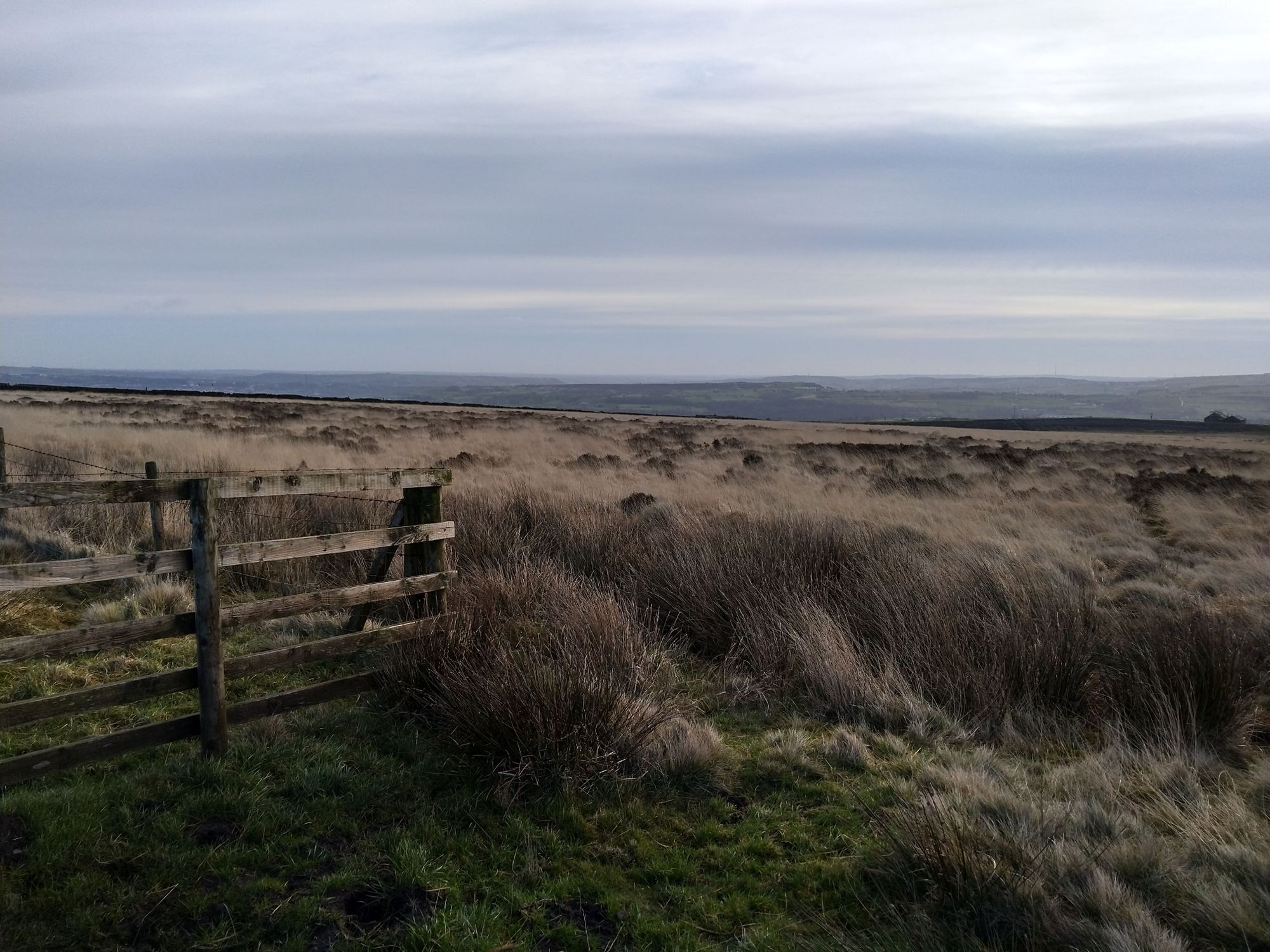 Fence gate on moors above Cragg Vale